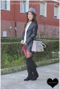 Minifalda de cuero granate y negro