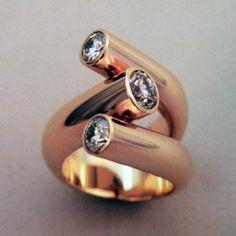 Three Diamond Ring in 14 K. Y.