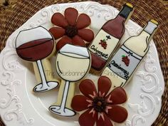 Cute Cookies, Sugar Cookies, Wine And Cheese Party, Valentine Cookies, Valentines, Wine Decor, Wine Parties, Blue Bonnets, Gourmet