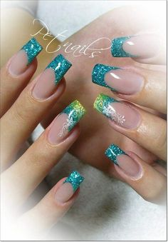Teal & lime green glitter French tips