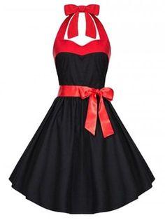 736af4935 Retro Criss-Cross Halter Swing A Line Dress Retro Dress