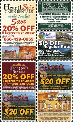 Smoky Mountains - Pigeon Forge Coupons - Gatlinburg Discount Coupons Gatlinburg Coupons, Smoky Mountains Attractions, Mountain Vacations, Tennessee Vacation, Shopping Coupons, Pigeon Forge, Discount Coupons, Cabin Rentals, Spring Break