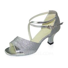 Dance Shoes - $65.99 - Sparkling Glitter Patent Leather Heels Sandals Latin Dance Shoes With Ankle Strap (053021663) http://jjshouse.com/Sparkling-Glitter-Patent-Leather-Heels-Sandals-Latin-Dance-Shoes-With-Ankle-Strap-053021663-g21663