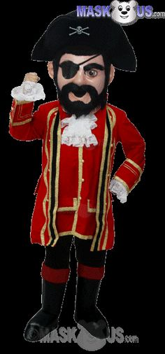 Captain Jack Mascot Costume T0295 is part of our People Mascots Pirates