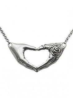 Friendship Rose Necklace by Controse (Silver) - My brain insists the rose hand is supposed to be skeletal.