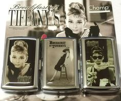 AUDREY HEPBURN BREAKFAST AT TIFFANY'S KING SIZE HINGED CIGARETTE CASE and POUCH