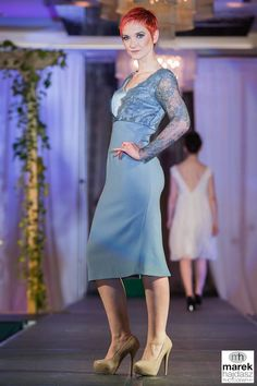 Slate blue wool crepe dress with Chantilly lace top. Chantilly Lace, Blue Wool, Crepe Dress, Slate, Formal, Collection, Tops, Dresses, Design