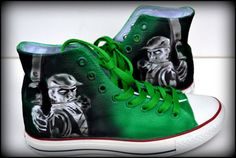 Green Arrow Sneakers  Mens Converse Hand Painted by PricklyPaw