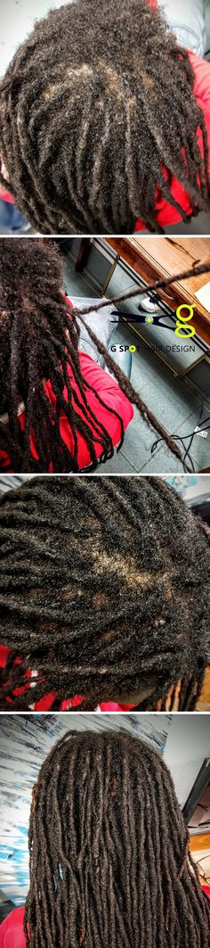 Sampson came in to see if we could help him re work his dreads because wearing a hat caused dreads to break off top of head and last folks to work cut dreads in half (?) We re connected dreads and also used a fe to attach dreads to crown.