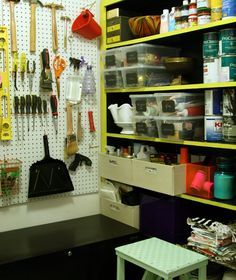 organized pantry at Little Green Notebook: -labels on the transparent bins -boxes -pegboard -lateral file for storing larger tools Built In Storage, Garage Storage, Storage Spaces, Pantry Storage, Storage Room, Tool Storage, Garage Organisation, Closet Organization, Organization Ideas