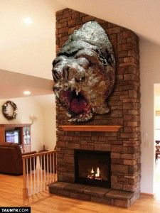No, Thank You. I Do Not Want A Taxidermy Rancor Head On My Wall.  WTH?!!? omg that would scare the living daylights out of me everyday!!
