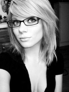 shoulder-length hair with bangs-this is actually what I'm doing to mine today! Love the glasses too.