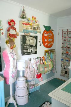 Lots of photos of a cute colorful sewing studio