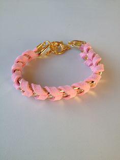 pink leather chain bracelet pulseira couro rosa trançado