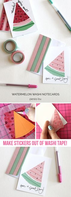 Learn how to make washi tape stickers to create these simple and cute watermelon notecards!