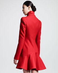 Alexander McQueen Crepe Wool Flounce-Hem Dress Coat - Neiman Marcus