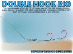 Double Hook Rig: For Big Catfish Baits. I NEEDED this last weekend like that guy that kept pulling out HUGE fish. Carp Fishing Rigs, Trout Fishing Tips, Catfish Fishing, Fishing Knots, Best Fishing, Saltwater Fishing, Kayak Fishing, Fishing Tricks, Fishing Stuff
