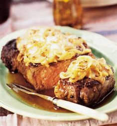 Recipe for French Onion Rib Eye Steak - French Onion not just for soup anymore.. Beefy Cheesy Juicy Goodness.. Wanna get your honey do list done...fix this for him!!