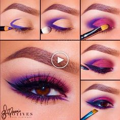 Purple Eye Makeup, Smokey Eye Makeup, Makeup For Brown Eyes, Eyeshadow Makeup, Maybelline Makeup, Makeup Brushes, Makeup Remover, Summer Eyeshadow, Purple Eyeliner