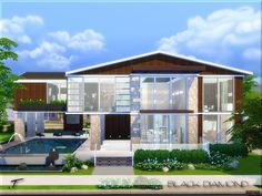 Black Diamond is a luxury modern home for your sims, two stories with an industrial touch and furnished with modern/contemporary items as well as Scandinavian.  Found in TSR Category 'Sims 4...