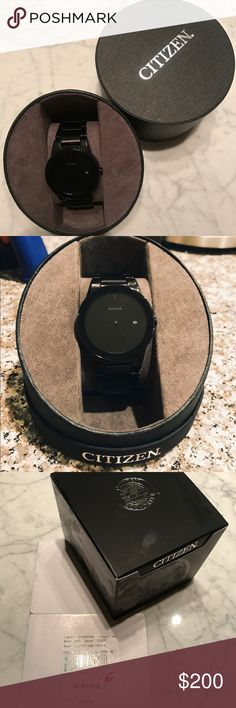 🆕 Citizen Axiom Modern Watch Brand New Citizen sleek day to night fashion option. Black out model is featured in black ion plated stainless steel with black dial, black accents and edge to edge glass. Citizen Accessories