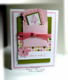 Item: birthday card    Description: Card stamped using quality papers, inks, ribbon and embellishments.    Embellishment: grosgrain ribbon, brad