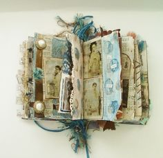 Altered Art Book, Mixed Media Journal, Antique Imagery. $75.00, via Etsy.