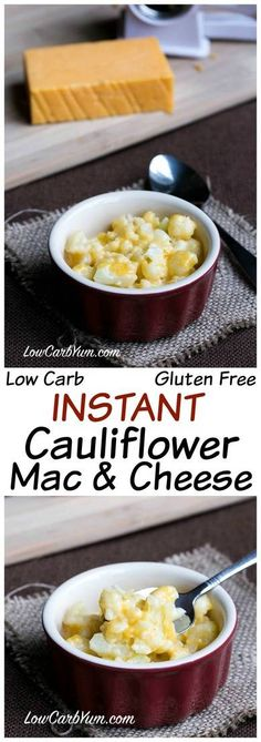 An instant low carb cauliflower mac and cheese recipe that is ready in less than 5 minutes. This quick keto meal only requires 3 ingredients! #keto #lowcarb #ketorecipe #easyrecipe | LowCarbYum.com