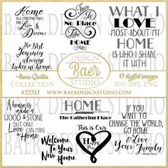 50% off:Printable Quotes, Home Quotes, Inspirational Quotes Clip Art, Family Quotes, Digital Quote Stamp, Planner Quotes, Digi Stamp, #22217 by BaerDesignStudio on Etsy