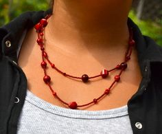 Luscious in Red Double Strand Necklace by uniquebeadingbyme