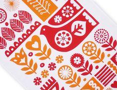 Tea Towel Scandinavian Swedish Retro Folk Art Modern Bird Flower 50s ...