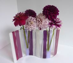 Fused Glass Wave Pocket Vase in Pink Lavender Violet by bprdesigns Fused Glass Plates, Fused Glass Art, Glass Vase, Melting Glass, Glass Fusing Projects, Slumped Glass, Kiln Formed Glass, Hanging Vases, Fire Glass
