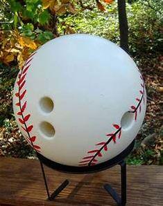 Threeoldkeys: baseball home opener -- yard art bowling ball Bowling Ball Crafts, Bowling Ball Garden, Bowling Ball Art, Bowling Pins, Bowling Quotes, Backyard Projects, Backyard Games, Outdoor Projects, Outdoor Ideas
