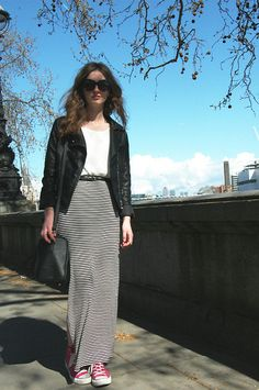H Crochet Top, Dorothy Perkins Side Slit Maxi Skirt, Hot Pink Converse, Warehosue Leather Jacket, Primark Black Bag, Aldo Sunglasses