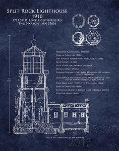 Split Rock Lighthouse Architectural Blueprint Art by ScarletBlvd