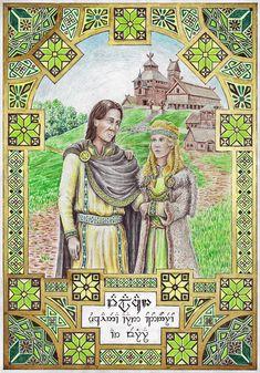 Valacar – Yuquainea Aran Ondonóreo – ar Verirya (Valacar – the Twentieth King of Gondor – and his Wife) Valacar was the son. Valacar of Gondor Lotr Swords, History Of Middle Earth, Shield Maiden, The Heirs, Fantasy World, Tolkien, The Hobbit, The Twenties, Illustration Art