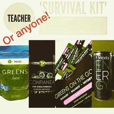 TEACHER SURVIVAL KIT!! This is kit is a GREAT boost for anyones health and wellness! *GREENS are packed with 6-8 servings of fruits and veggies that detoxify and give energy and BOOST YOUR IMMUNE system!! I <3 the GREENS and take it twice a day! #nosickness *CONFIANZA helps with concentration and stress! Naturally relieves anxiety and stress caused by environmental, physical and emotional factors! I use this when I feel like I am running around like a chicken with my head cut off!…