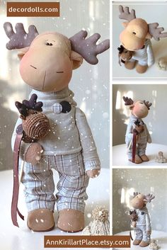 Deer Tilda Doll Handmade Fabric Doll Textile Cloth Doll Poupée Art Doll Bambole Rag Doll Puppen Muñecas Brown Winter Decor Doll by Yulia K Outside Christmas Decorations, Handmade Christmas Decorations, Christmas Moose, Christmas Crafts, Moose Toys, Fabric Animals, Diy Doll, Fabric Dolls, Doll Toys