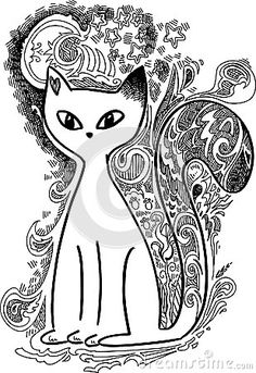 Elegant cat under the moon. Digital black and white illustration decorated with sketched doodles.