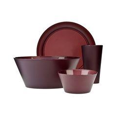 Polypropylene 13-pc. Dinnerware Set ($15) ❤ liked on Polyvore featuring burgandy