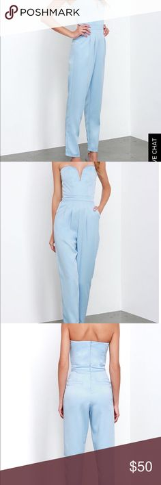 Lulus strapless jumpsuit Strapless Lulus jump suit in light blue. I wore it once. In awesome condition, like new. Lulu's Other