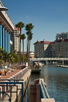 The Tampa Riverwalk, Tampa, FL. Located in downtown Tampa, the Riverwalk is a paved two-mile promenade for pedestrians to stroll along the Hillsborough River-front and enjoy the beautiful scenic sights of boats on the water, waterfront parks, and waterfront museums, hotels, and other buildings; it is an ideal place to relax.