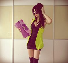 lime green vest with skanky black dress I hate the clutch but the vest makes it postable