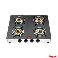Butterfly Reflection 4 Burner Auto Ignition Glass Gas Cooktop