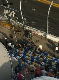 Horrible accident involving many of the Nationwide Series cars at the end of the Daytona race today. Torn up was the #32 car whose engine ended up through the fence into the grandstand area. Hope fans are all OK!