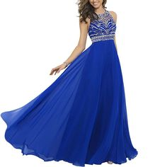 Elegant Chiffon Sparkly Beading A-line Sweep Train Prom Dresses Royal Blue US 2-26W ** Hurry! Check out this great product : Evening dresses