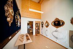 Office room, exhibition, wood carving, Jurva, Finland