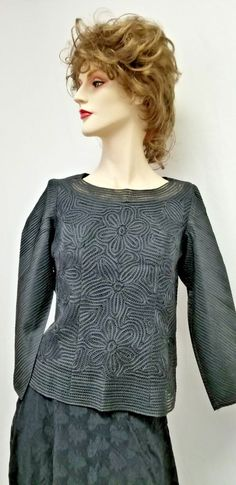 "Black Silk Crochet Blouse, Bell sleeves,  New, 19"" long, 36"" Chest, 18"" armpit #Handmade #SilkCrochet #EveningOccasion"