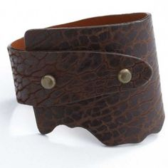 Bisonn Genuine Wide Wrap Luxury Leather Bracelet - Dark Brown Color