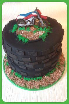 Motorcross & tyres cake Motorcross Cake, Tire Cake, Catering, Foodies, Birthday Cake, Fancy, Desserts, Tailgate Desserts, Deserts